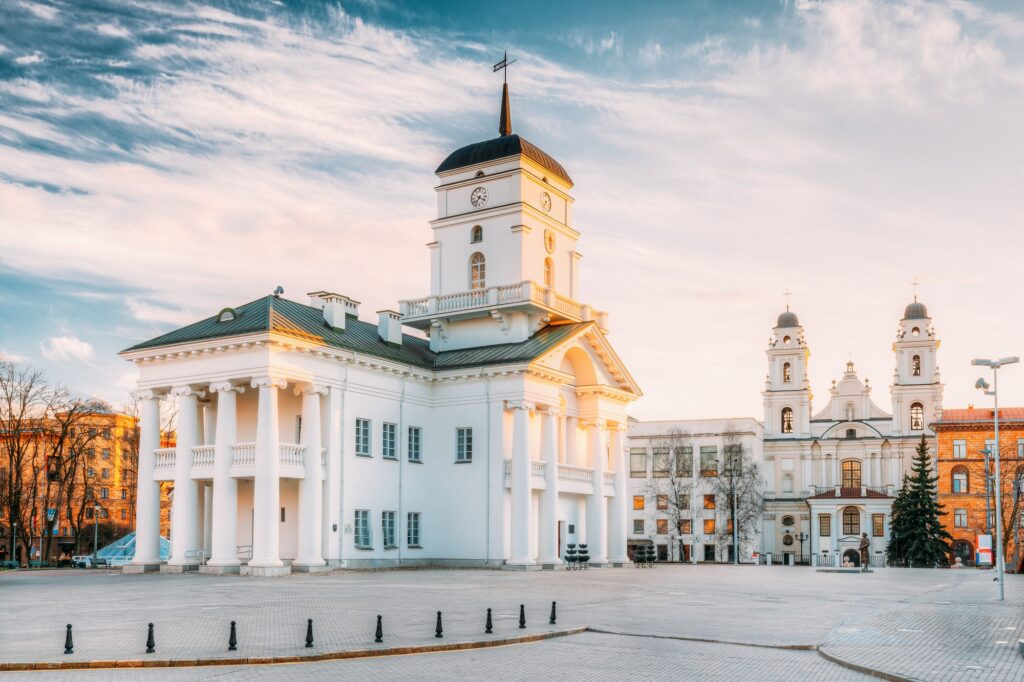 Minsk, Belarus. Old Minsk City Hall on Freedom Square Hall In Su